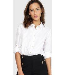 blusa calvin klein non iron tunic blanco - calce regular