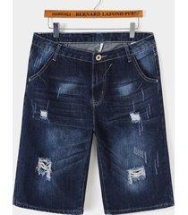 pantalones cortos de mezclilla rectos rasgados casuales de verano para hombre jeans