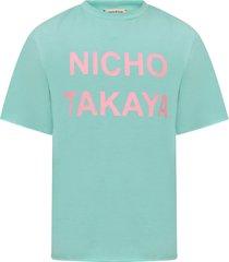 natasha zinko aqua girl t-shirt with pink print