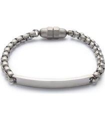 kenneth cole reaction men's silver-tone plaque bracelet