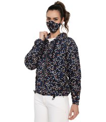chaqueta mujer antifluido con tapabocas rachid azul geometrica