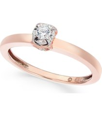 diamond solitaire side heart promise ring (1/10 ct. t.w.) in 10k rose gold