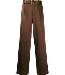 sies marjan belted straight-leg trousers - brown