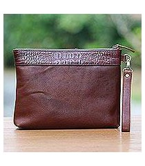 leather wristlet, 'jogja guardian in mahogany' (indonesia)
