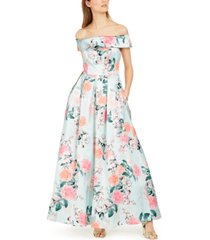 eliza j off-the-shoulder floral gown