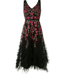 marchesa notte floral embroidered tulle dress - black