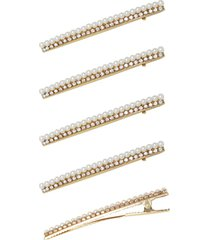 ettika 5-pack imitation pearl & crystal hair clips in gold at nordstrom