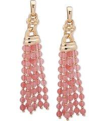 anne klein gold-tone beaded tassel linear drop earrings