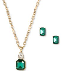 charter club gold-tone crystal & stone pendant necklace & stud earrings set, created for macy's