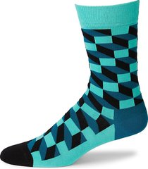 happy socks men's filled optic geometric-print socks - green - size 10-13