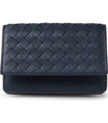 bottega veneta men's intrecciato leather card case - black