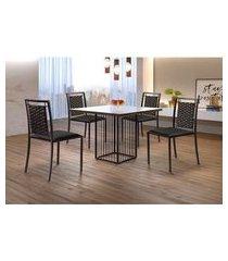 conjunto de mesa de jantar hera com tampo de vidro mocaccino e 4 cadeiras grécia ii couríssimo preto e café