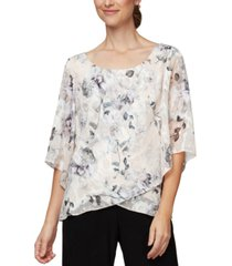 alex evenings floral chiffon top