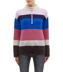drawcord collar stripe oversized cashmere sweater