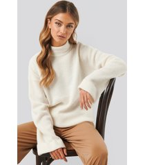 na-kd trend alpaca wool blend high neck sweater - white