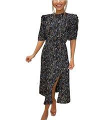 ax paris floral pleated puff sleeve midi dress