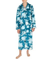 miss elaine floral-print french terry long zipper robe