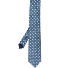 corneliani floral-print silk tie - blue