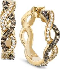 le vian chocolatier diamond braided hoop earrings (1/2 ct. t.w.) in 14k gold