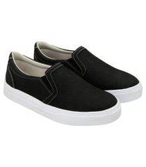 tênis sapatênis feminino casual confortável fecho elástico preto 40