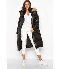 tall longline faux fur hood padded coat, black