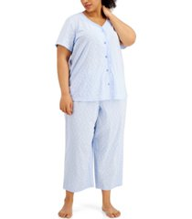 charter club plus size cotton capri pajama set, created for macy's