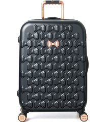 ted baker london medium beau bow embossed four-wheel 27-inch trolley suitcase -