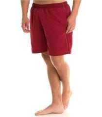 short tactel praia masculino adulto liso vermelho