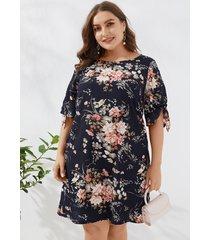 vestido de manga corta con estampado floral aleatorio de talla grande de yoins
