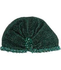 maryjane claverol guyana beaded turban hat - green