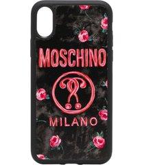 moschino logo-print floral iphone x/xs case - black