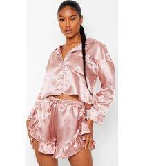 premium pyjama set met broek, steentjes en shorts, rose gold