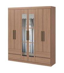 guarda roupa zeus 6 portas e 4 gavetas c/ espelho carvalho naturale móveis lopas marrom