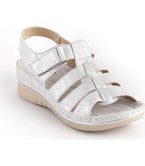sandalia casual tipo confort para dama plata