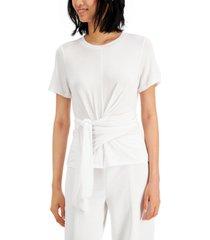 alfani petite wrap-waist top, created for macy's