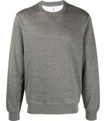 brunello cucinelli cotton and silk blend crew neck sweater - grey