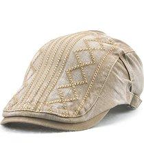 uomo vintage berretto in cotone morbido in ricamo a righe con protezione solare a viaggio all'aperta