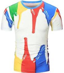 3d paint printed crew neck t shirt
