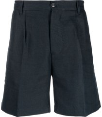 fortela tailored pleat-detail beach shorts - blue