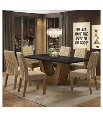 conjunto sala de jantar madesa eduarda mesa tampo de madeira com 6 cadeiras marrom