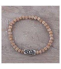bone beaded stretch bracelet, 'graceful flow' (india)