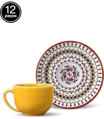 conjunto 12pçs xícaras de chá coup henna porto brasil
