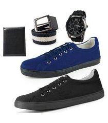 kit dois sapatênis de amarrar azul e preto masculino com carteira e cinto gorgurão mais relógio