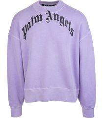 palm angels man lilac sweatshirt with curved logo