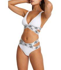 women's river island tape wrap bikini bottoms, size 6 us - white