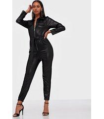 parisian pu zip front belted jumpsuit jumpsuits
