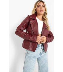 biker jas met metalen ringetjes in de mouwen, maroon