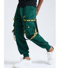hebilla de cinta lisa de hip hop de moda para hombre diseño carga pantalones