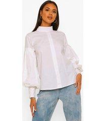 blouse met hoge kraag en volle mouwen, white