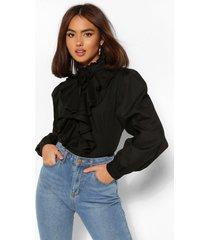 katoenen getailleerde poplin blouse met hoge hals en ruches, black